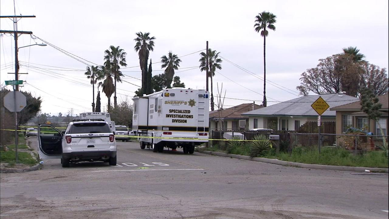 A possible homicide investigation was sparked after two bodies were found in a Muscoy home on Wednesday, Feb. 8, 2017.
