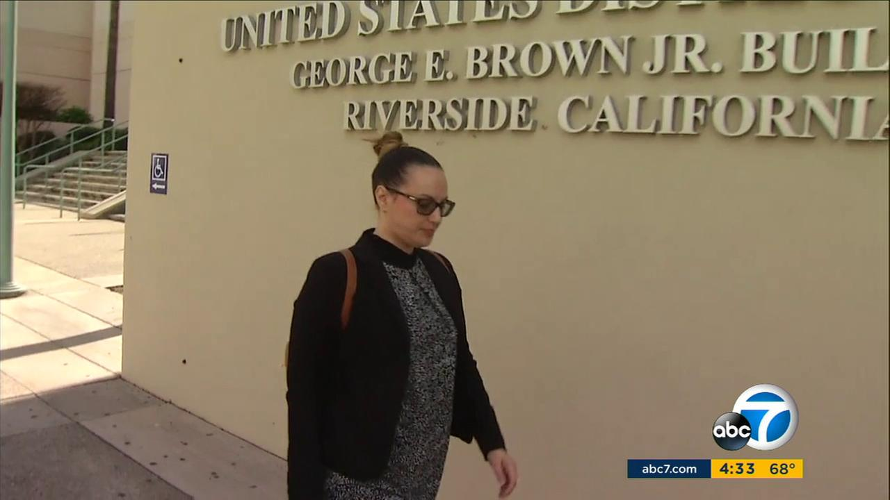 Tatiana Farook is seen outside the U.S. District Court in Riverside on Thursday, Feb. 9, 2017.