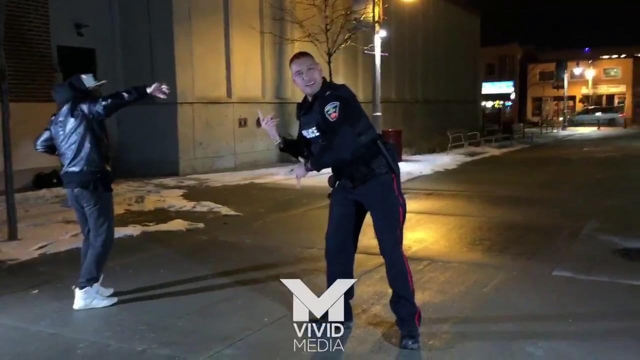 Officer Jarrod Singh thought he was going to bust up a fight, but instead ended up busting a move.