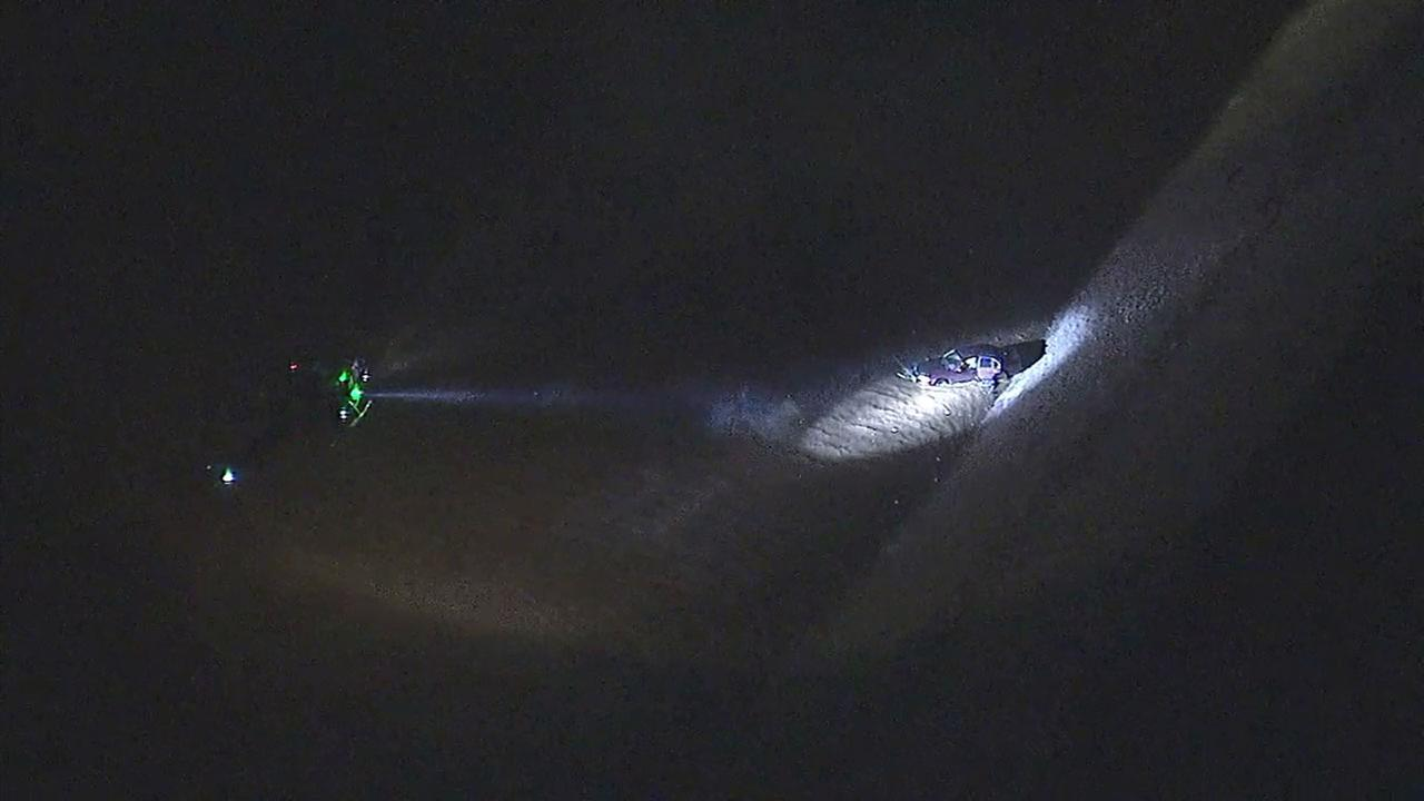 Rescue crews are searching the Los Angeles River after a car was found in the water in South Gate near the 710 Freeway.