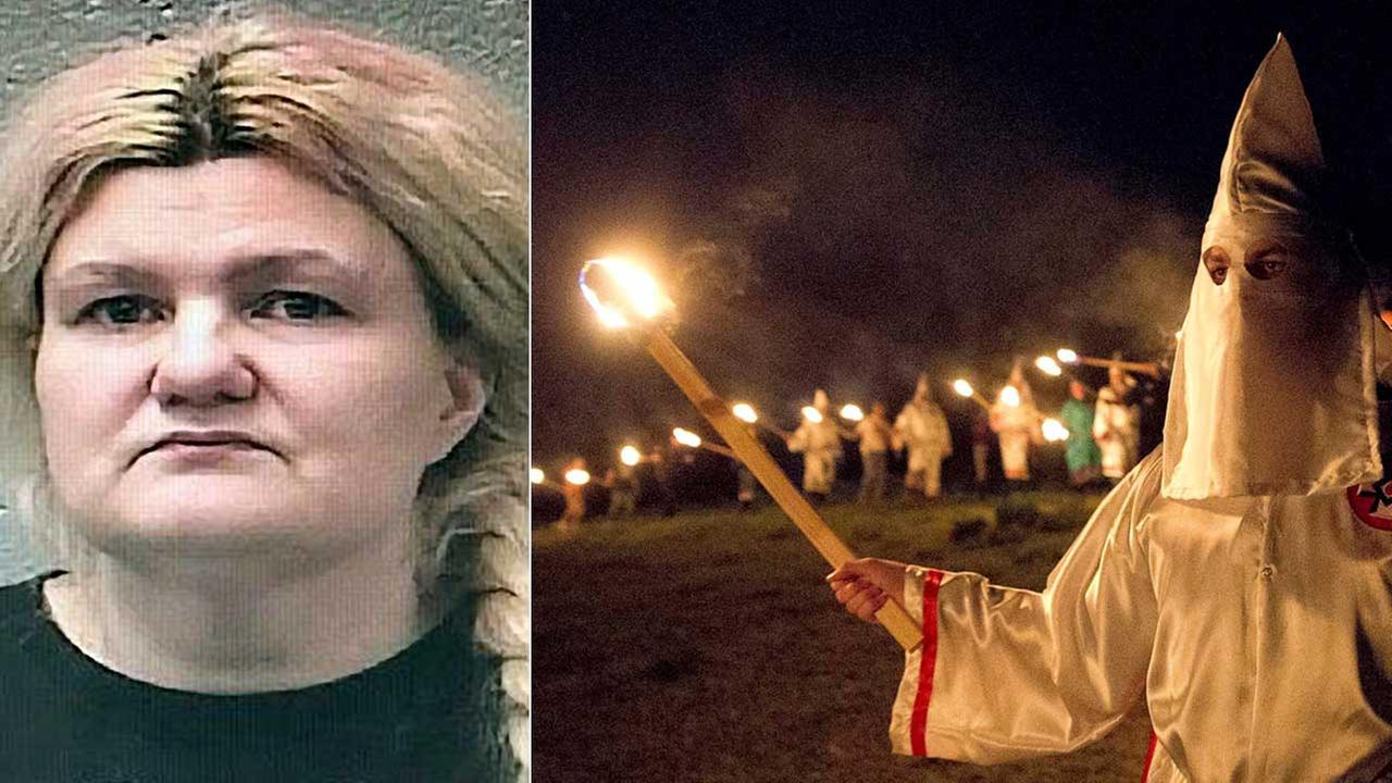 (L) Malissa Ancona is seen in an undated photo provided by the St. Francois County Sheriffs Department. (R) Ku Klux Klan members participate in a White Pride event in 2016.