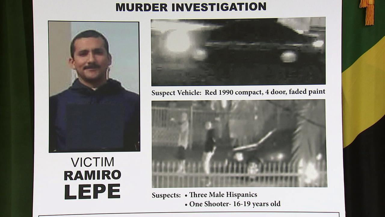 A poster at a news conference on Thursday, Feb. 16, 2017, shows homicide victim Ramiro Lepe and surveillance images of the suspects wanted in his killing.