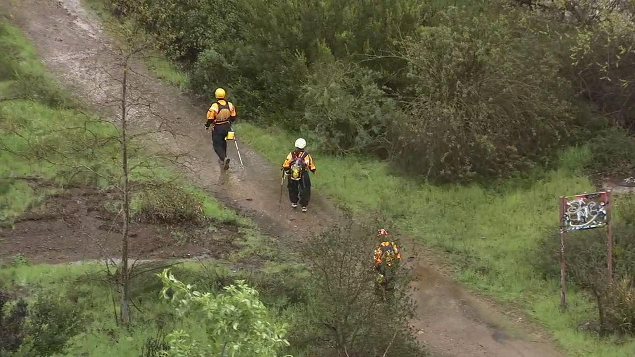 Rescue crews searched the Arroyo Conejo Creek in Newbury Park Saturday, Feb. 18, 2017, for a missing man who was swept away by fast-moving creek waters.