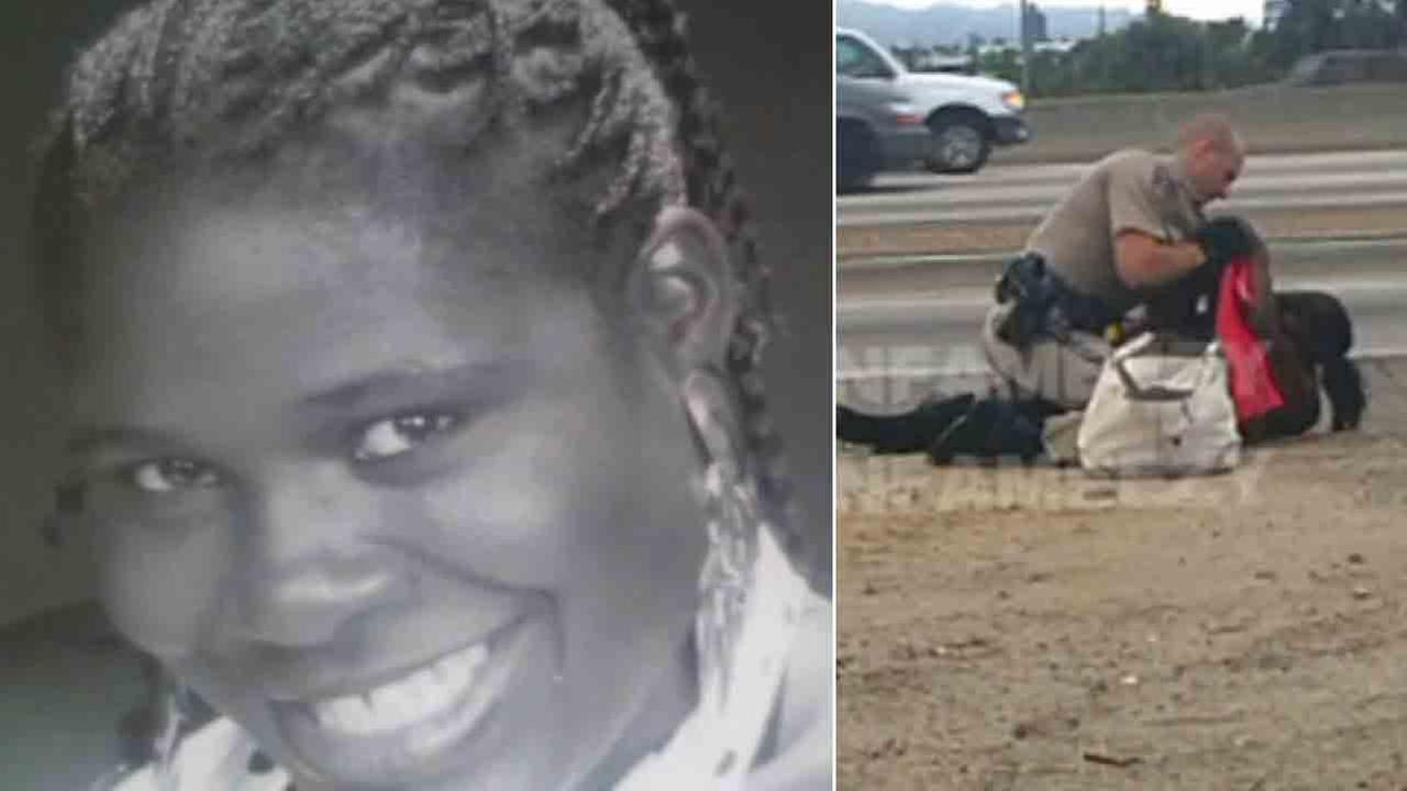 Marlene Pinnock is seen in a photo provided by her attorney, Caree Harper (left). She was repeatedly punched by a CHP officer on July 1, 2014 (right).