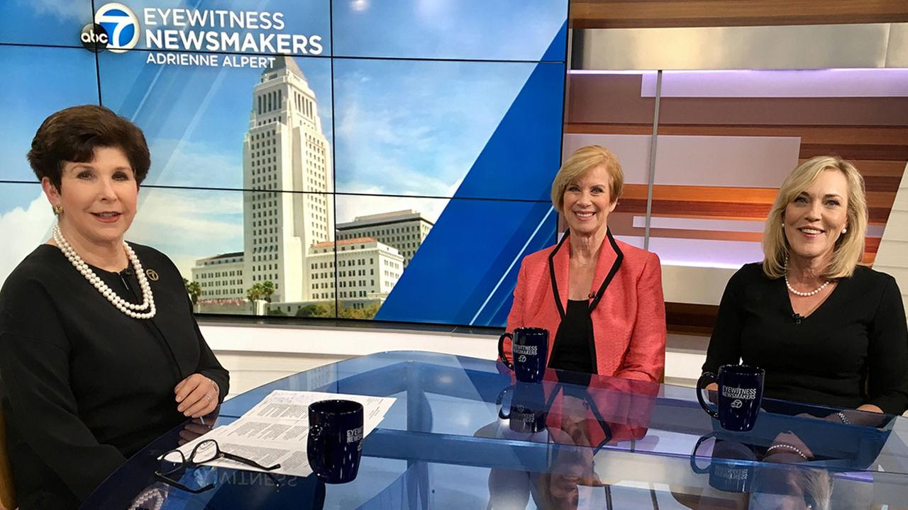 (From left) Adrienne Alpert spoke with Los Angeles County supervisors Janice Hahn and Kathryn Barger on Eyewitness Newsmakers.