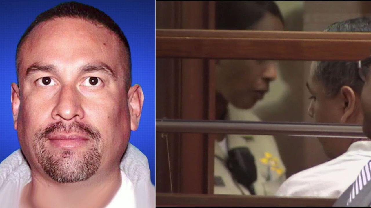 Former Los Angeles sheriffs deputy Francisco Gamez (right), pictured in court in 2012, pleaded no contest to killing Armando Casillas (left).