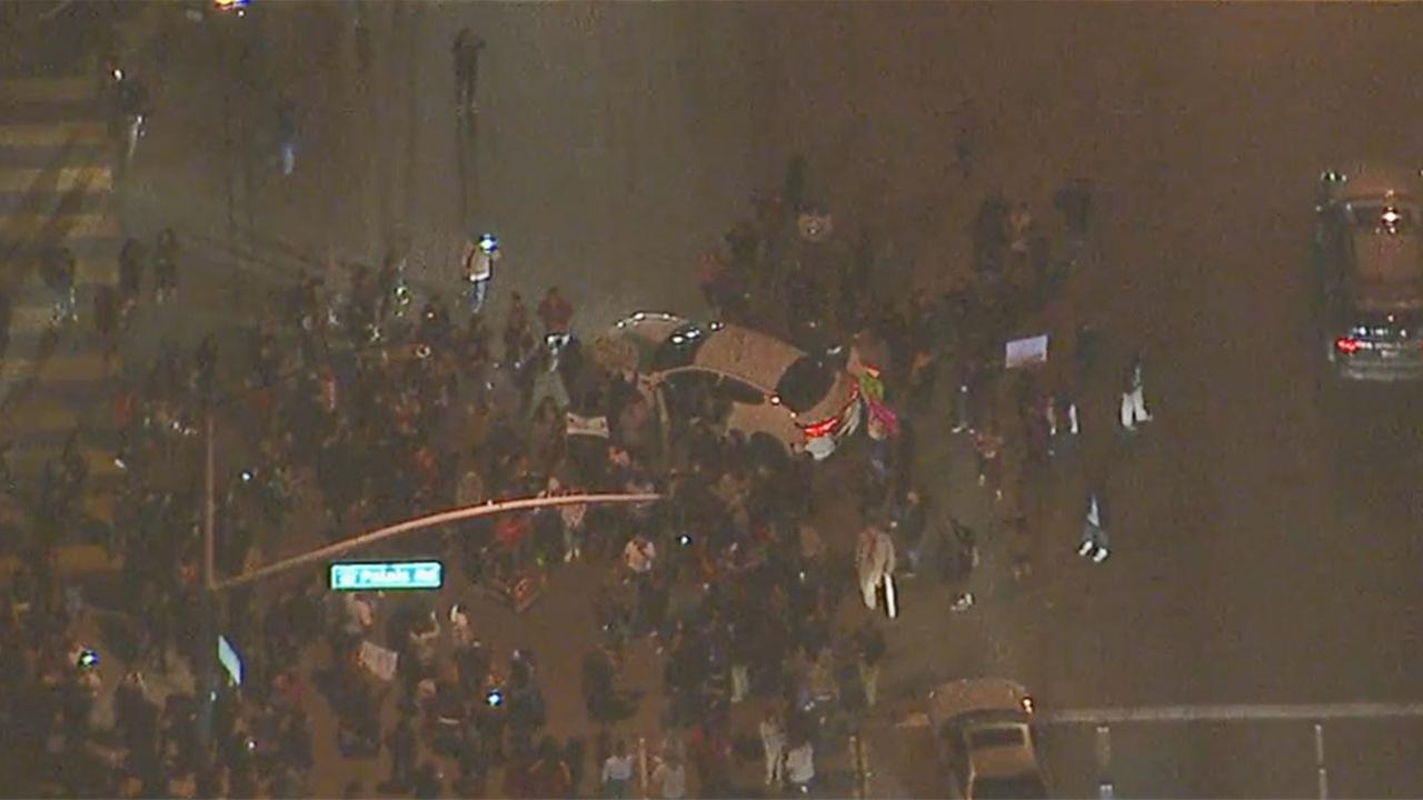 Protesters were blocking streets in Anaheim on Wednesday, Feb. 22, 2017.