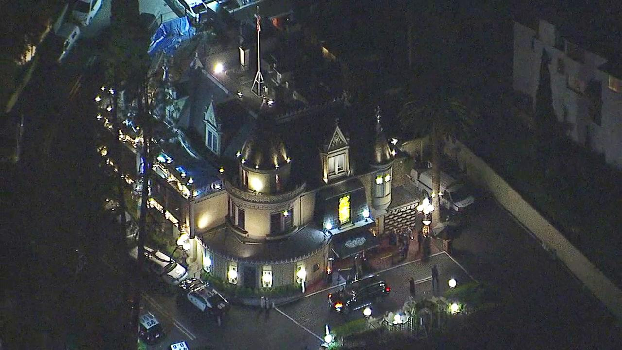 Patrol cars at a death investigation incident inside Hollywoods famous Magic Castle on Friday, Feb. 24, 2017.