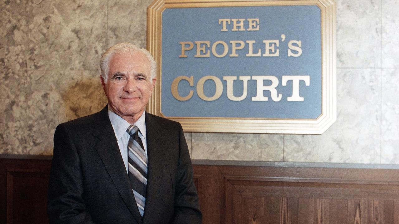 Joseph Wapner, star of The Peoples Court, is seen in front of the television shows signature logo on Oct. 22, 1986.