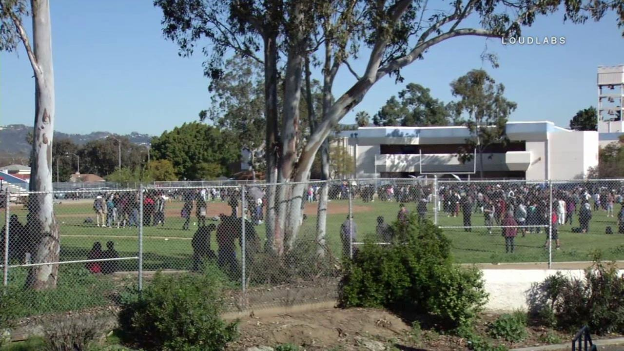 Students at Los Angeles High School were evacuated to the football field following a bomb threat on Wednesday, March 1, 2017.