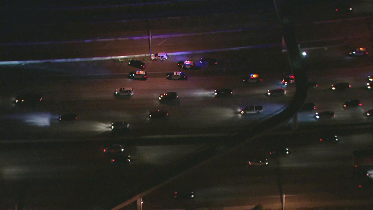 A high-speed chase on the 10 Freeway ended when the suspects crashed and fled on foot in East Los Angeles on Wednesday, March 1, 2017.