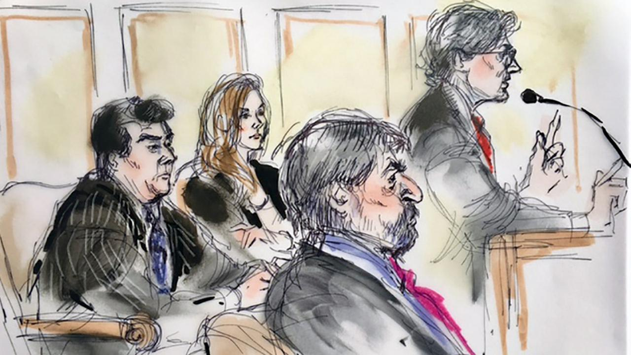 A sketch shows attorneys arguing for the release of an Afghan family after they were detained at the Los Angeles International Airport on Thursday, March 2, 2017.