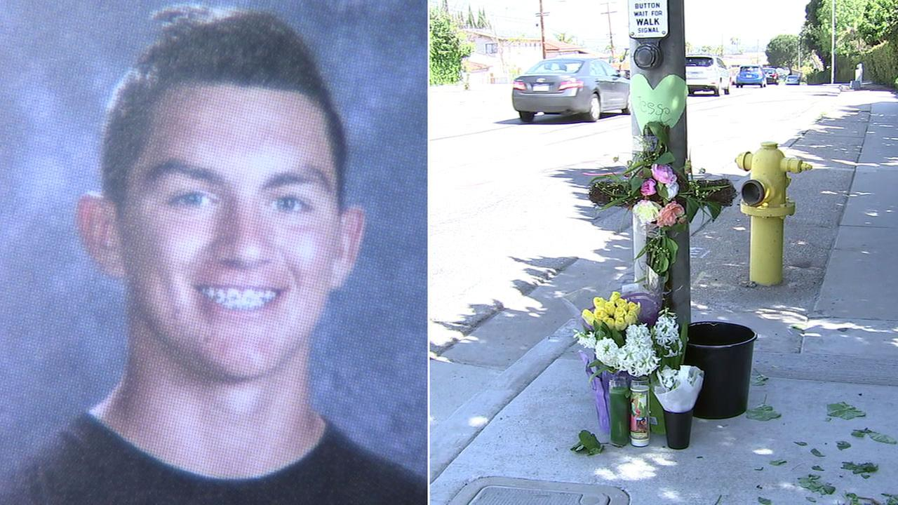 Jesse Esphorst Jr., 16, is shown in a yearbook photo alongside a memorial made for him at the intersection where he was killed in a car crash.