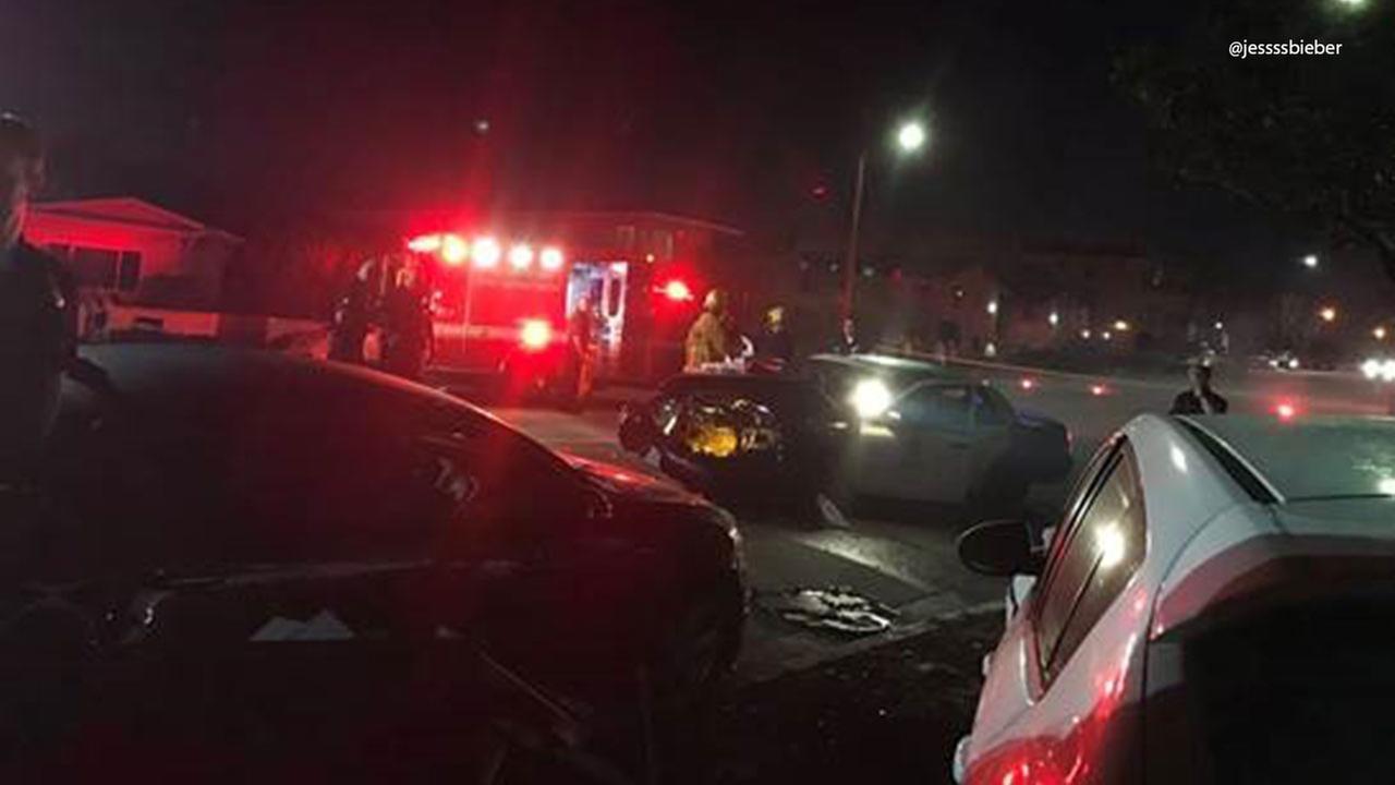 A patrol car has front-end damage following a crash in Culver City on Saturday, March 11, 2017.