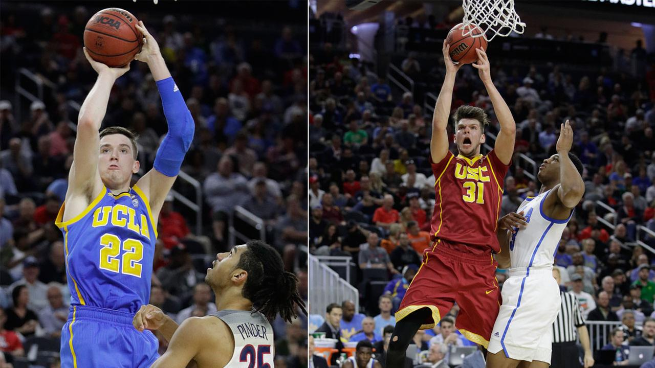 Players from UCLA (L) and USC (R) are shown during the NCAA college basketball quarterfinals and semifinals of the Pac-12 mens tournament.