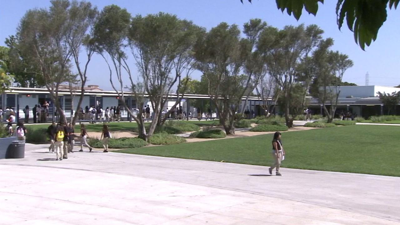 Students are shown at a school that is part of the Los Angeles Unified School District.