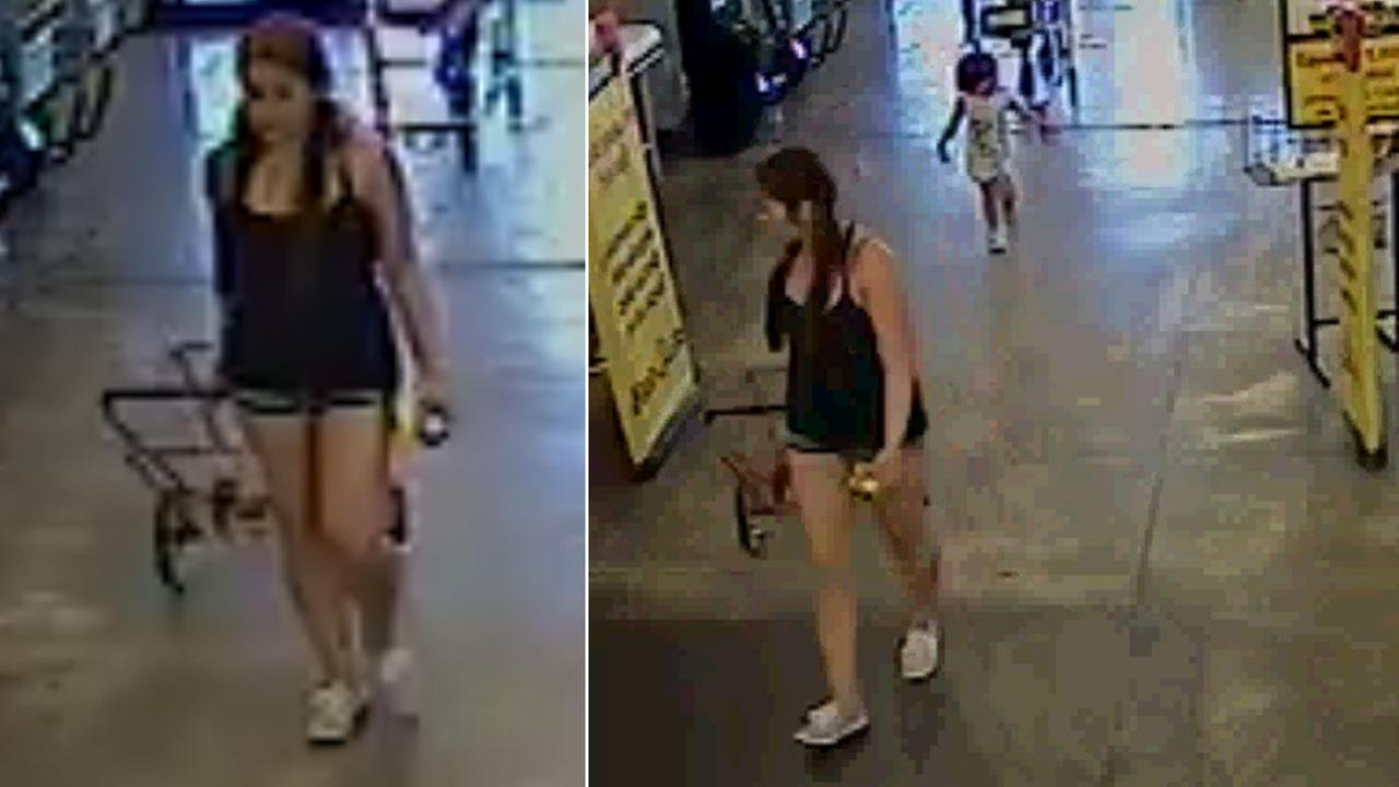 Surveillance footage from a Riverside Food 4 Less shows a woman with her child before abandoning her on Sunday, March 12, 2017.