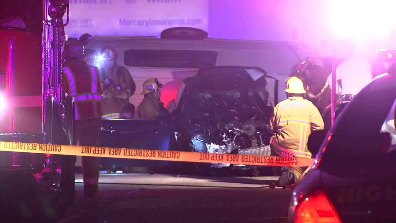 Three people were killed when a wrong-way driver crashed head-on into a van on the 5 Freeway in Commerce on Sunday, March 12, 2017.