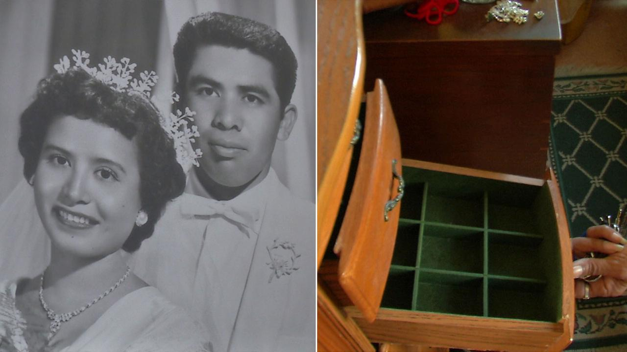 An old wedding photo with Aurora Ramirezs late husband is shown alongside an image of her empty jewelry drawers.