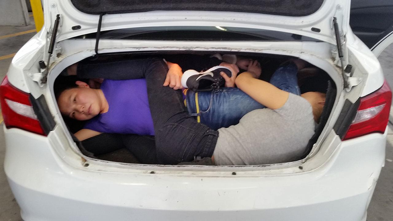Four Chinese nationals were discovered in the trunk of a car trying to cross the San Ysidro border into the United States on Tuesday, March 14, 2017, officials said.