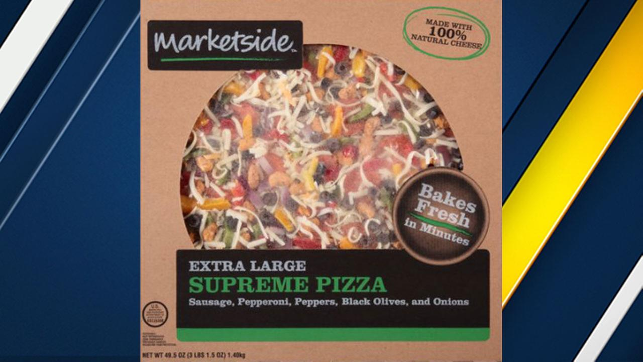 Frozen pizza sold at Walmart labeled Marketside Extra Large Supreme Pizza with lot code 20547 is being recalled because of possible Listeria contamination.