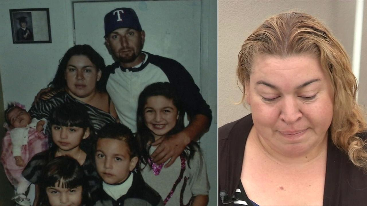 Angela de la Riva is shown in a photo with her husband and family alongside another image of her speaking out on Monday, March 20, 2017, after her husbands death.
