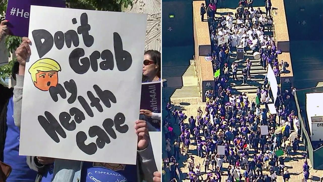 Protesters rallied in downtown Los Angeles to oppose repealing and replacing the Affordable Care Act on Thursday, March, 23, 2017.