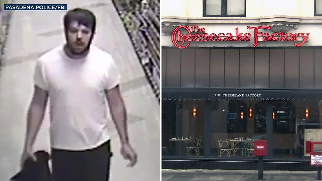 Federal authorities said surveillance video captured a suspect wanted in connection with an explosion at a Pasadena Cheesecake Factory on Thursday, Feb. 2, 2017.