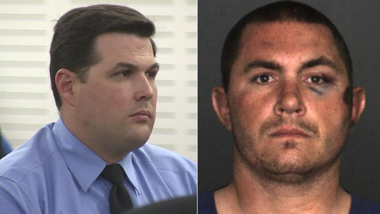 Former San Bernardino County sheriffs deputy Charles Foster (left) was found guilty of assaulting Francis Pusok (right) during an arrest in 2015.
