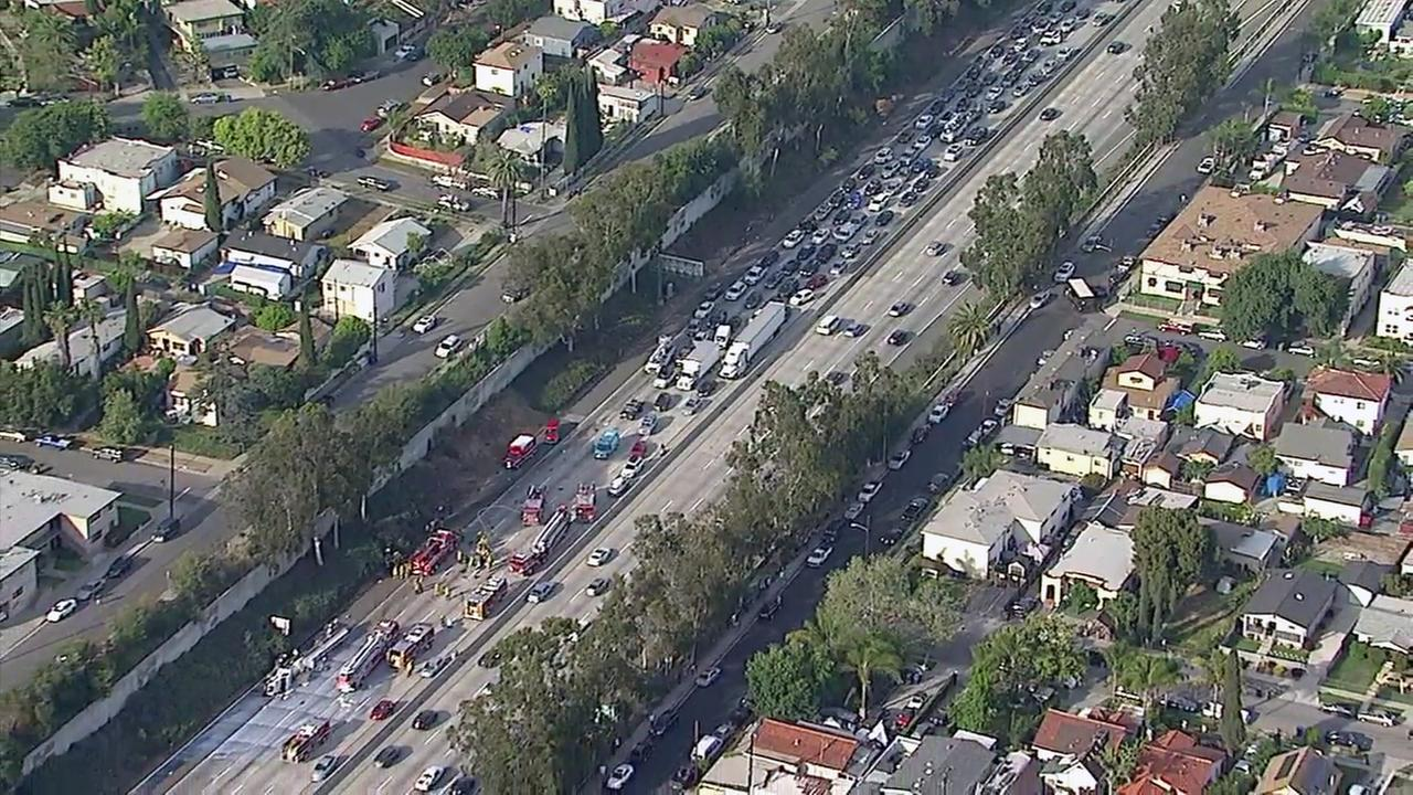 Multiple injuries were reported after a crash on the 2 Freeway in Glassell Park on Tuesday, April 4, 2017.
