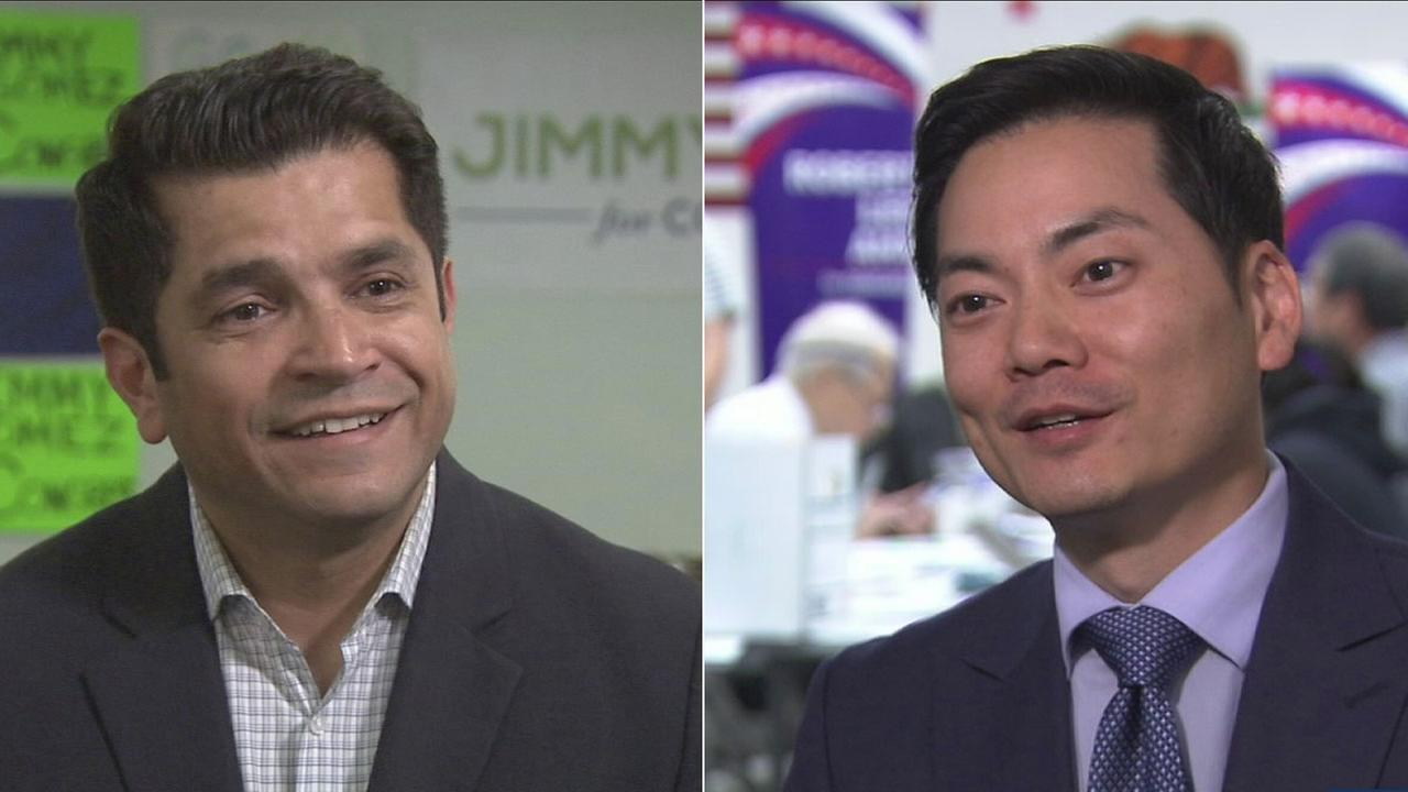 Jimmy Gomez (left) and Robert Ahn are heading to a June runoff election for Californias 34th congressional district seat.