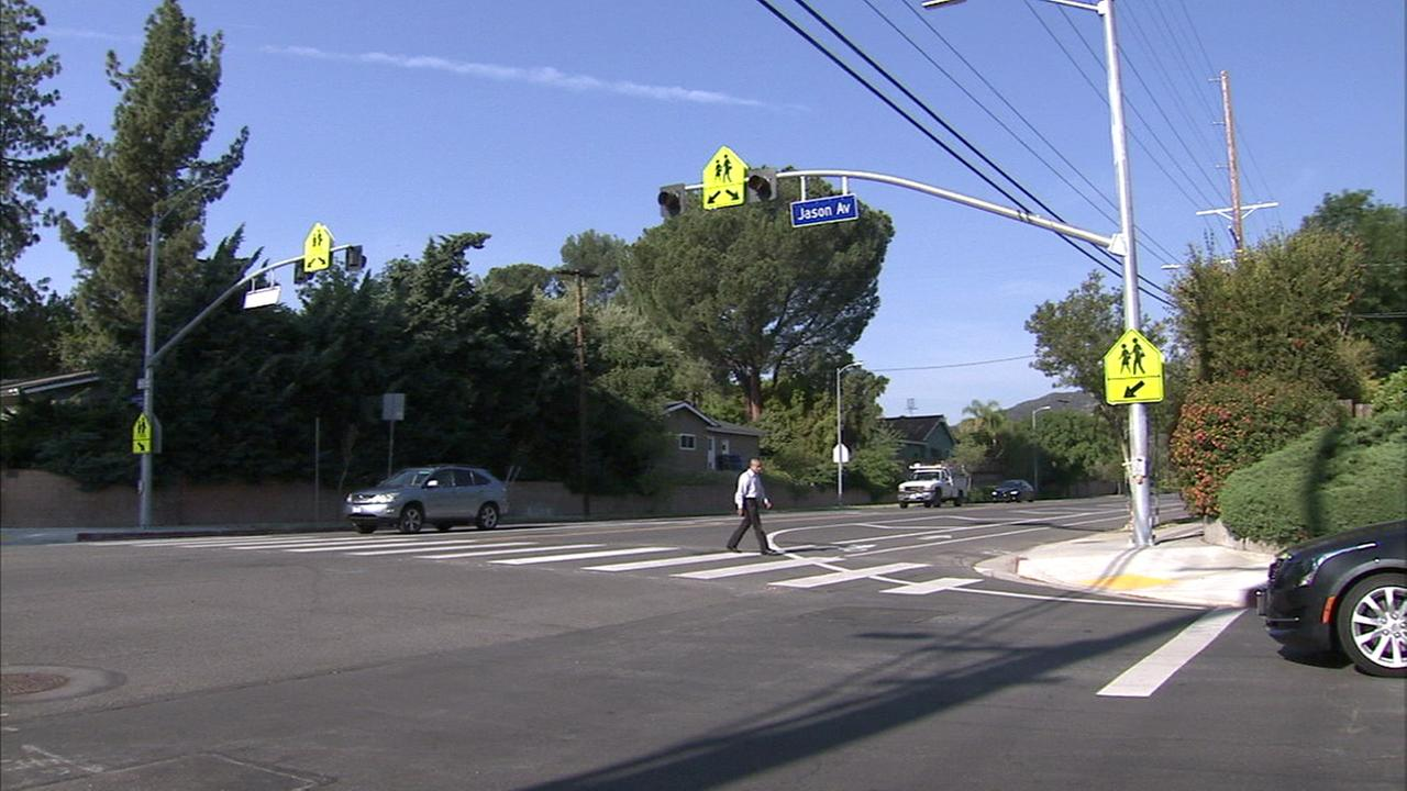 A new safety measure for pedestrians was installed at a West Hills intersection following the death of a woman, her daughter and their dog one year ago.