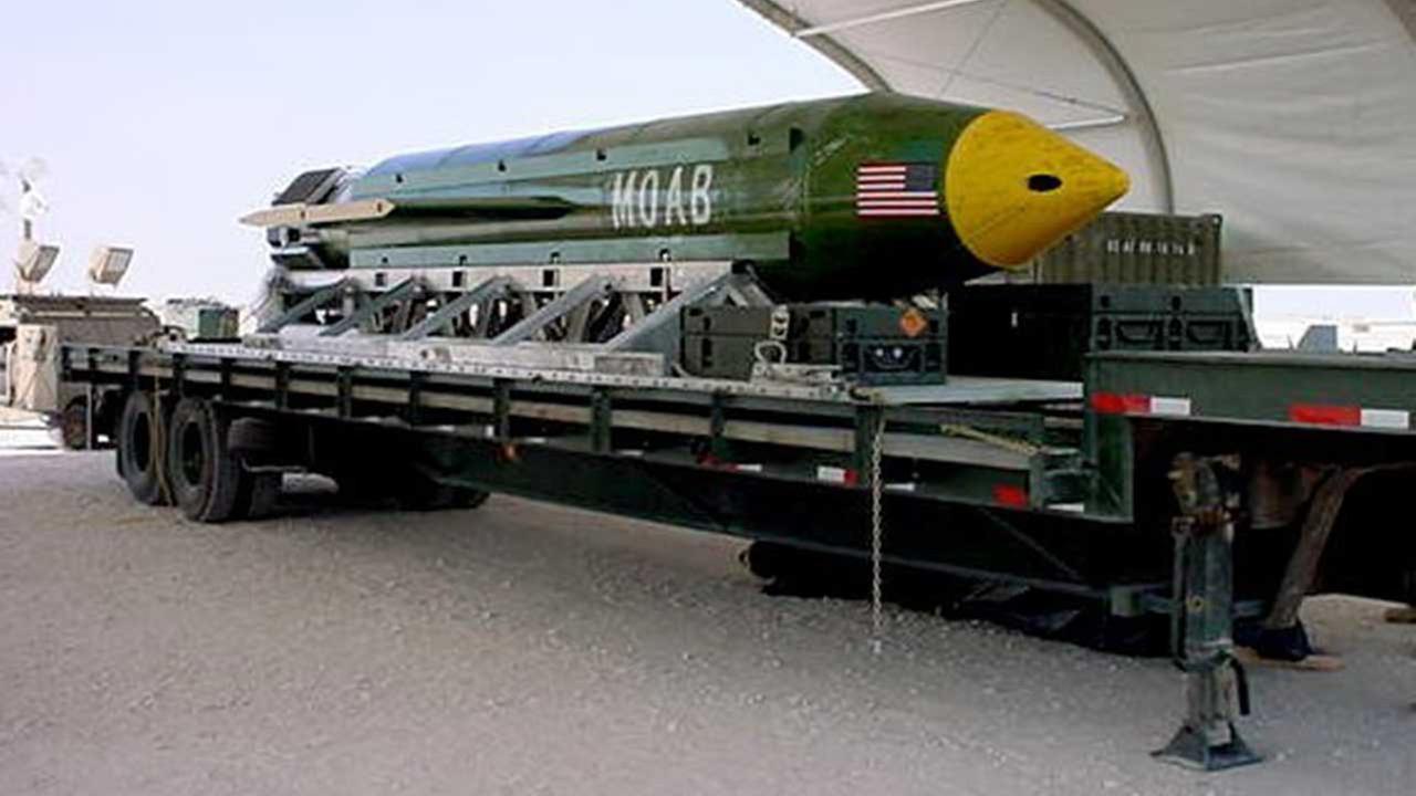 This photo provided by Eglin Air Force Base shows the GBU-43/B Massive Ordnance Air Blast bomb.