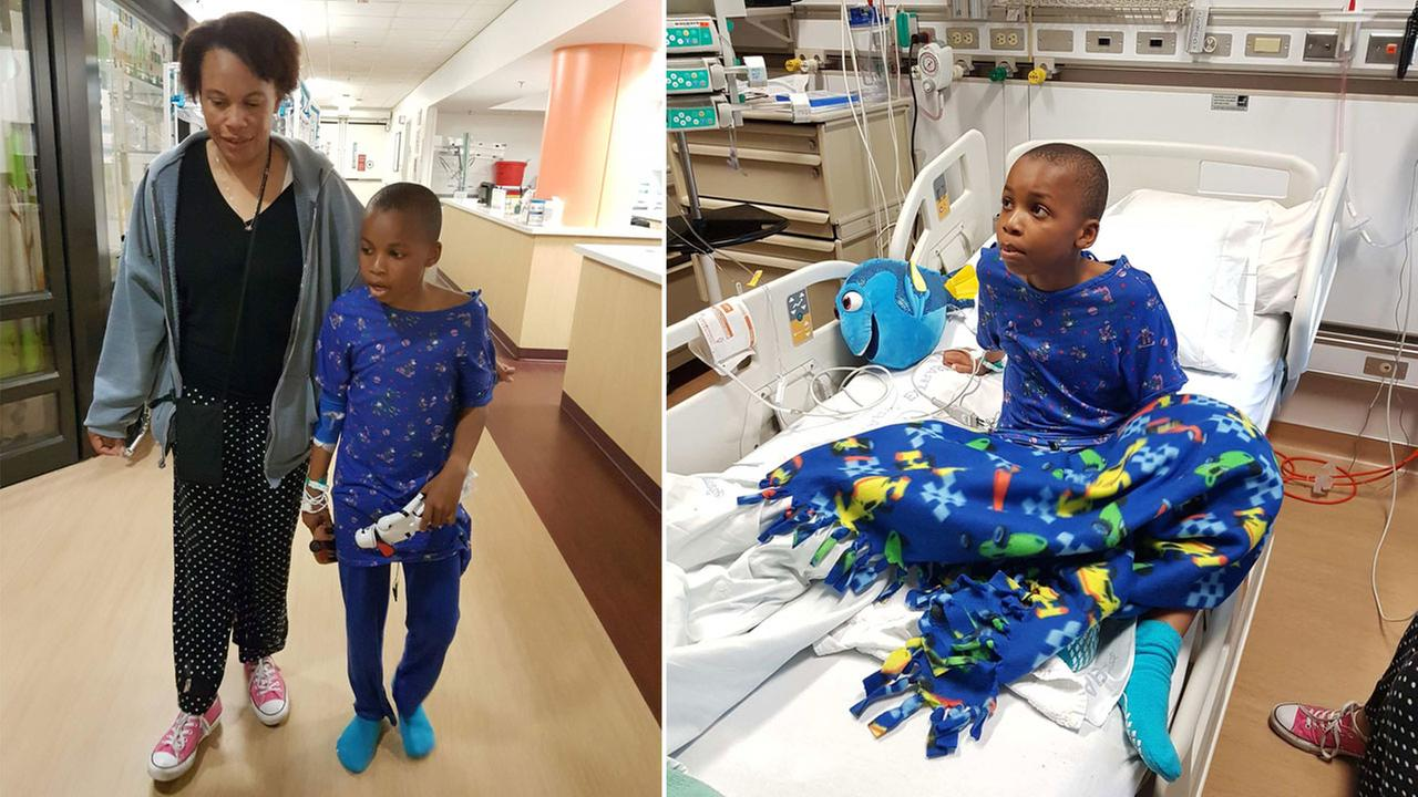Nolan Brandy, 9, is shown in his room at Loma Linda University Medical Center before he was released on Friday, April 14, 2017.