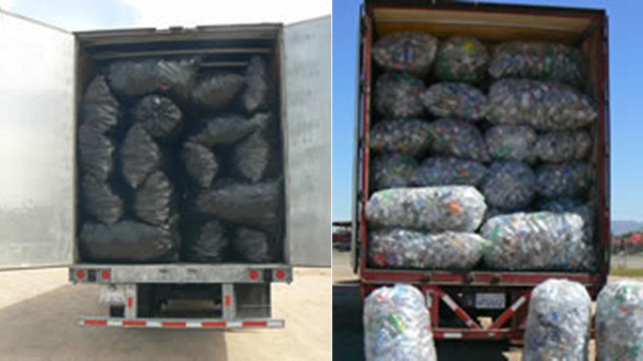 Authorities seized two trucks, one on March 14 (left) and one on March 16 (right) carrying thousands of pounds of empty containers attempting to enter California.