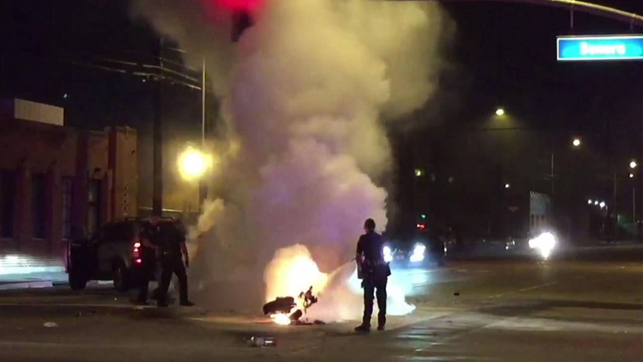 A witness at the scene captured footage of a fiery and fatal motorcycle crash in Glendale on Saturday, April 15, 2017.