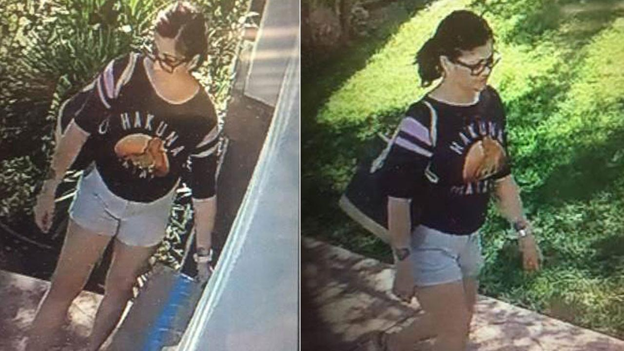 A woman who police say was caught on surveillance video stealing a package in Covina.