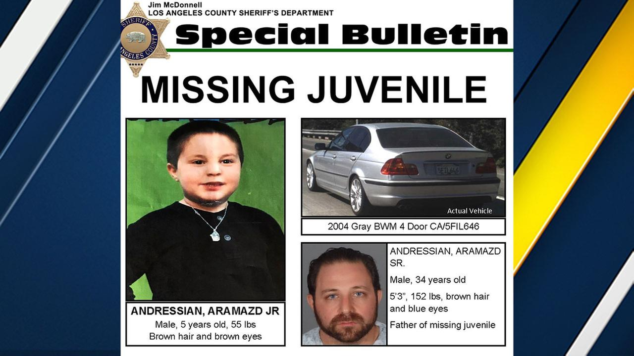 Authorities are searching for Aramazd Andressian Jr., 5, after his father was found unconscious in a South Pasadena park.