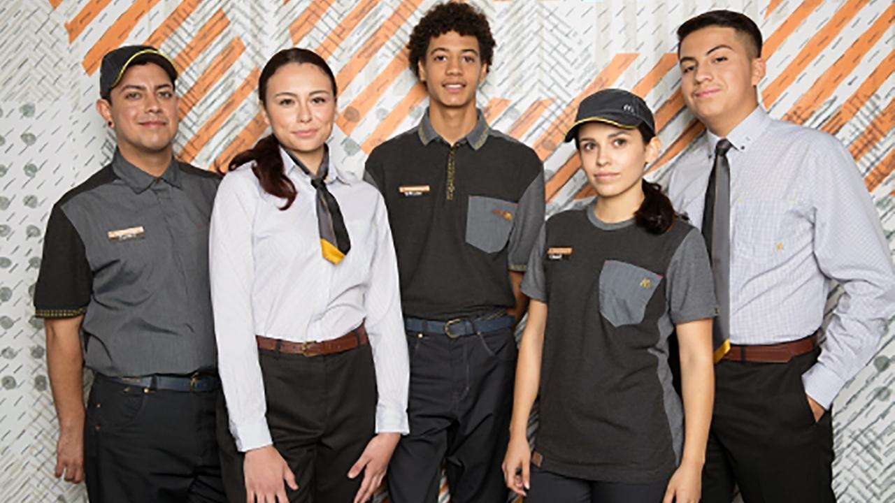 McDonalds revealed its new uniforms gray-on-gray uniforms.