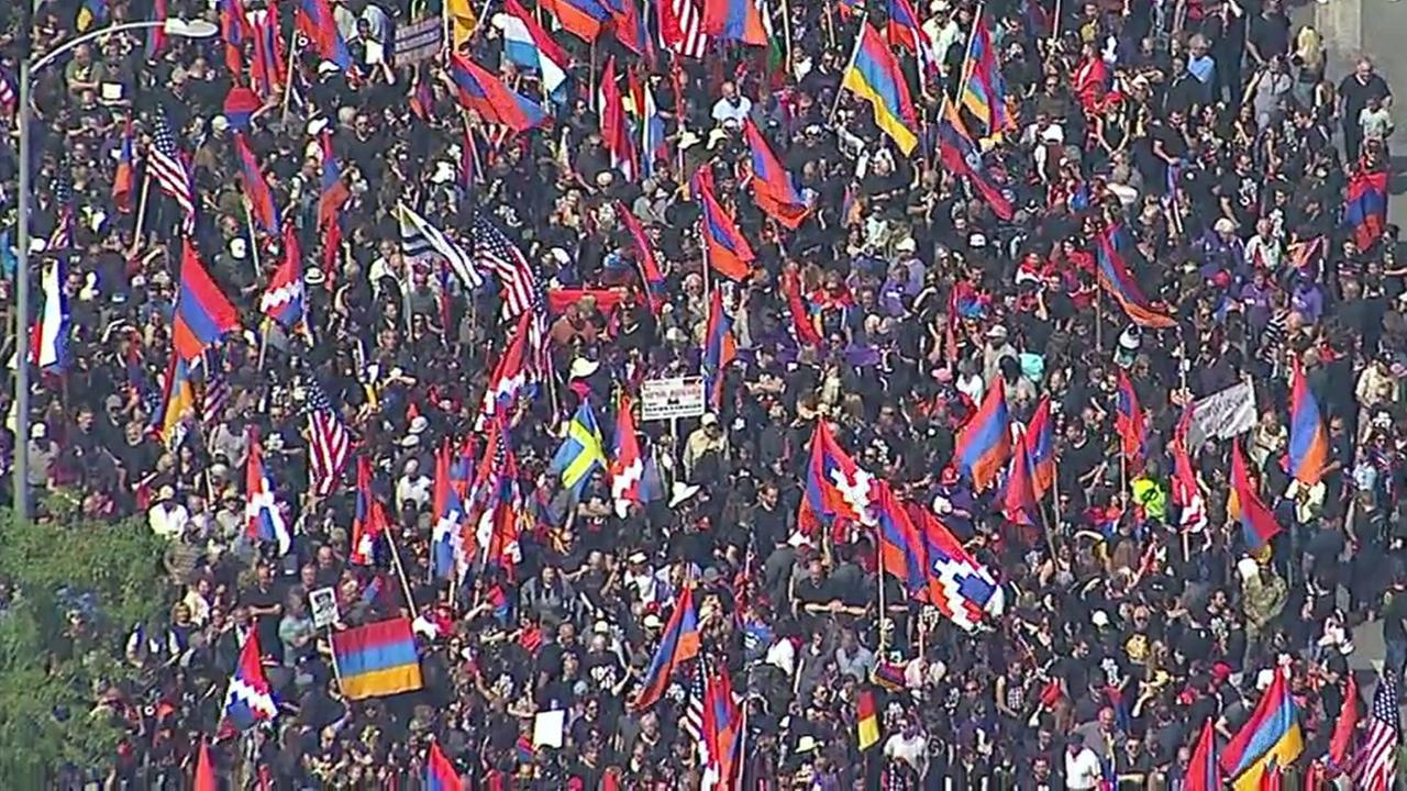 Thousands marched in downtown Los Angeles to commemorate the 102nd anniversary of the Armenian genocide on Monday, April 24, 2017.