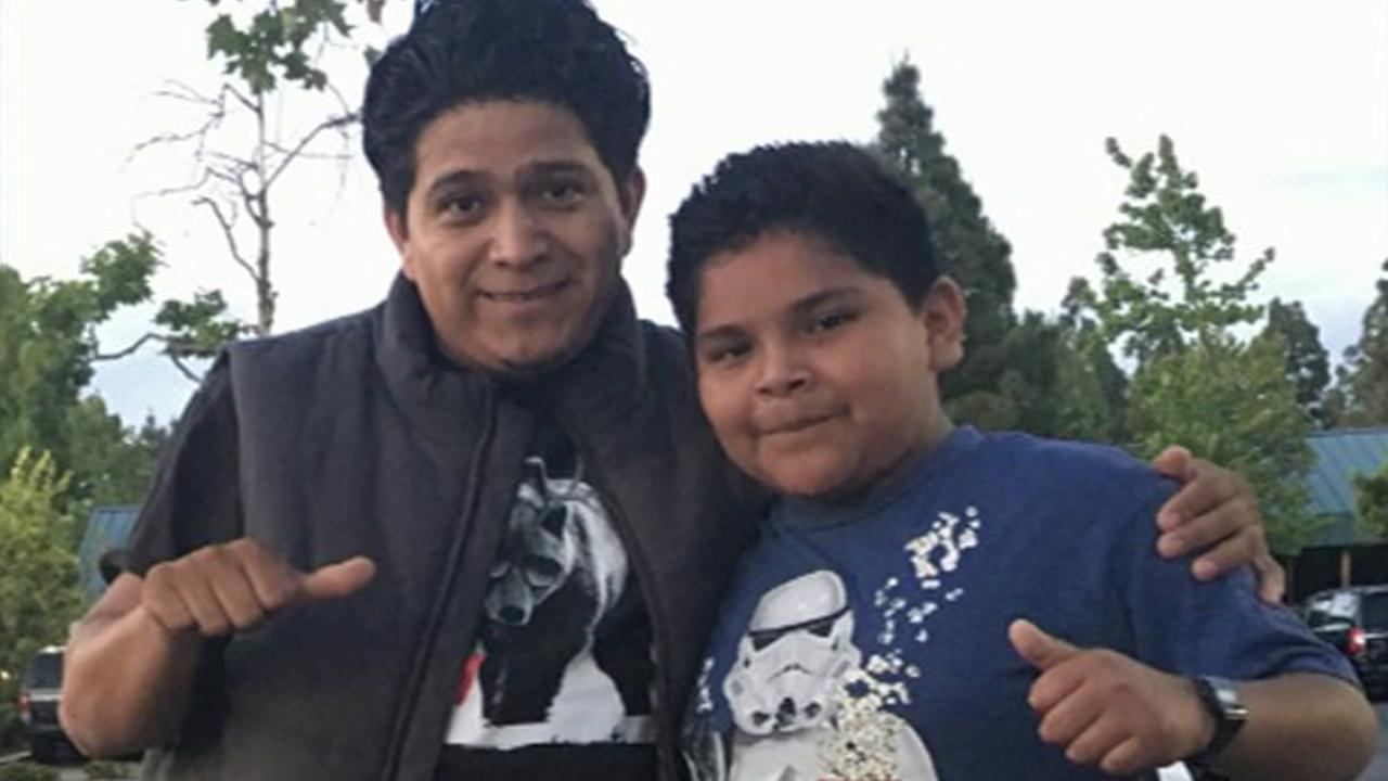 Jaime Carmona Zepeda, left, is seen with his son, 10-year-old Jaime Huerta, in a photo released by authorities.