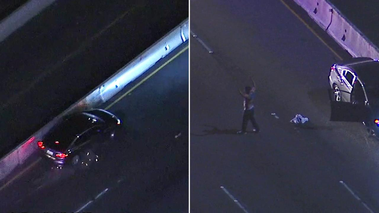 A high-speed chase came to a dramatic end on the southbound 5 Freeway in Dana Point on Friday, April 28, 2017.