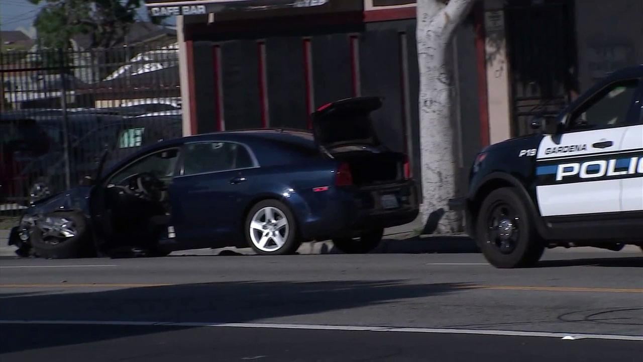 A suspect fleeing police smashed into a car in Gardena before being shot and wounded by officers on Sunday, April 30, 2017, officials said.