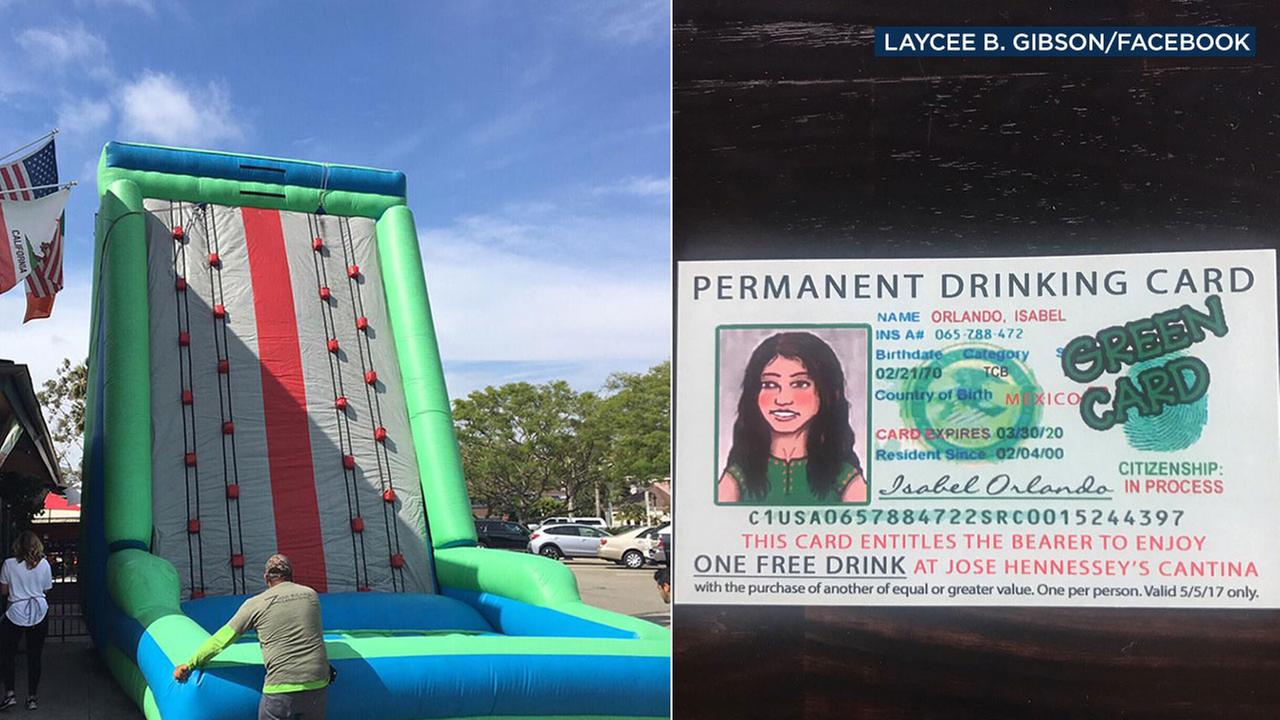 Hennesseys Tavern in Dana Point offered an inflatable border wall and Green Card promotion for Cinco de Mayo that generated substantial criticism.