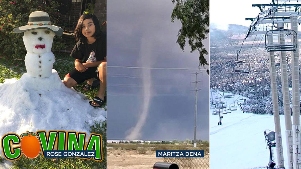 From hail to funnel clouds to snow, Southern California saw a range of wild weather on Sunday, May 7, 2017.