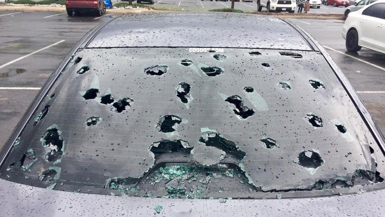 Cars at the Colorado Mills Mall in Lakewood, Colorado were badly damaged in a hailstorm on Monday, May 8, 2017.