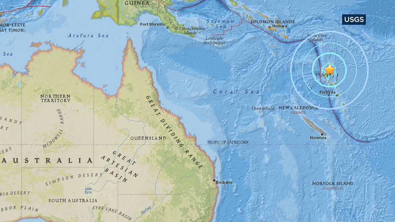 This map from the U.S. Geological Survey shows the location of a large earthquake that struck off the island nation of Vanuatu.