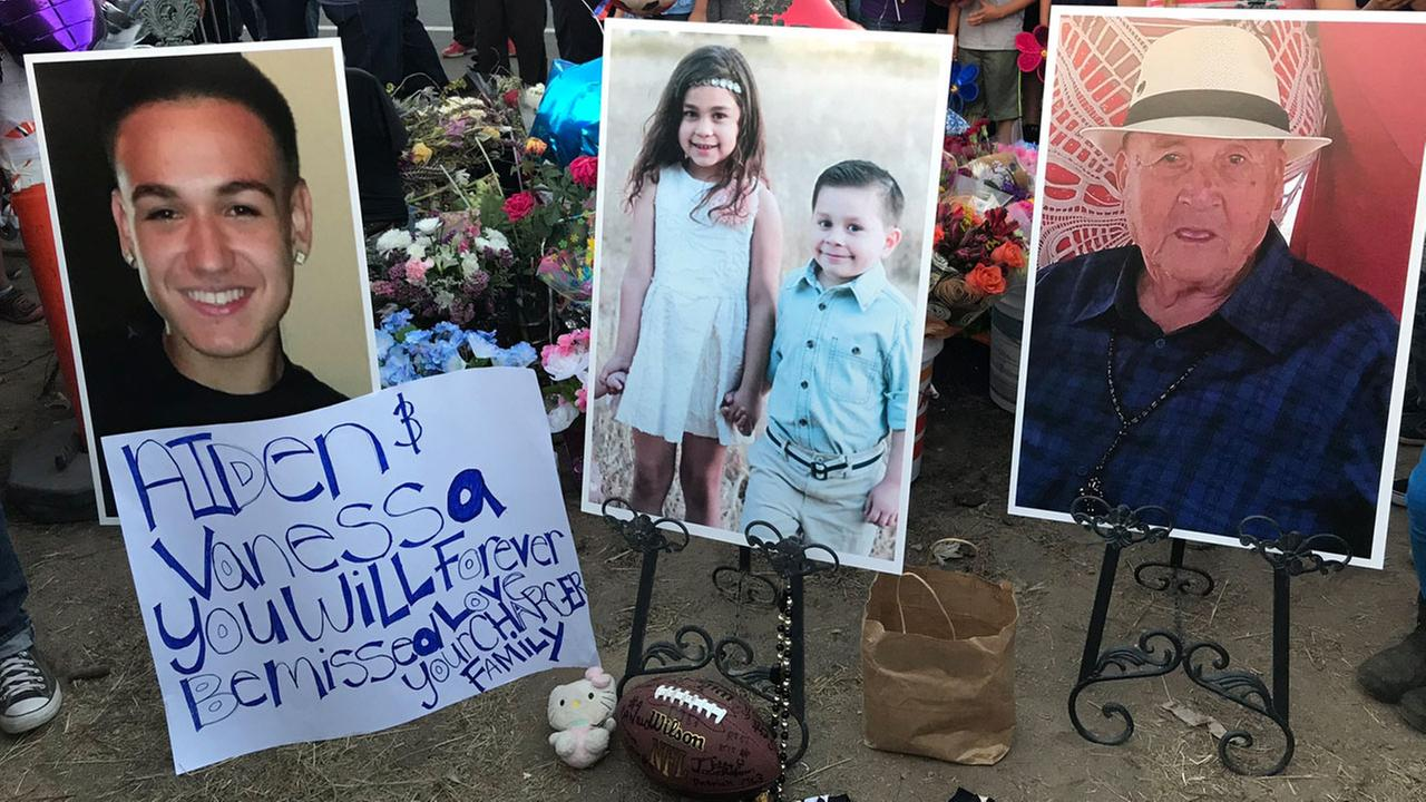 Nicholas Luna, 16, his cousins Vanessa, 8, and Aiden Hermosillo, 7, and their great grandfather Juan Perez, 83, are shown in photos at a vigil site in Highland.