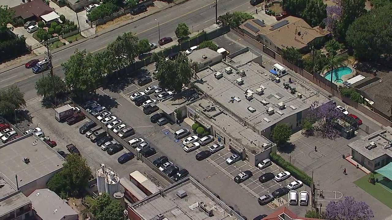 The area near a school in Van Nuys, located near 15300 Saticoy Street, was the subject of a police search on Friday, May 12, 2017.