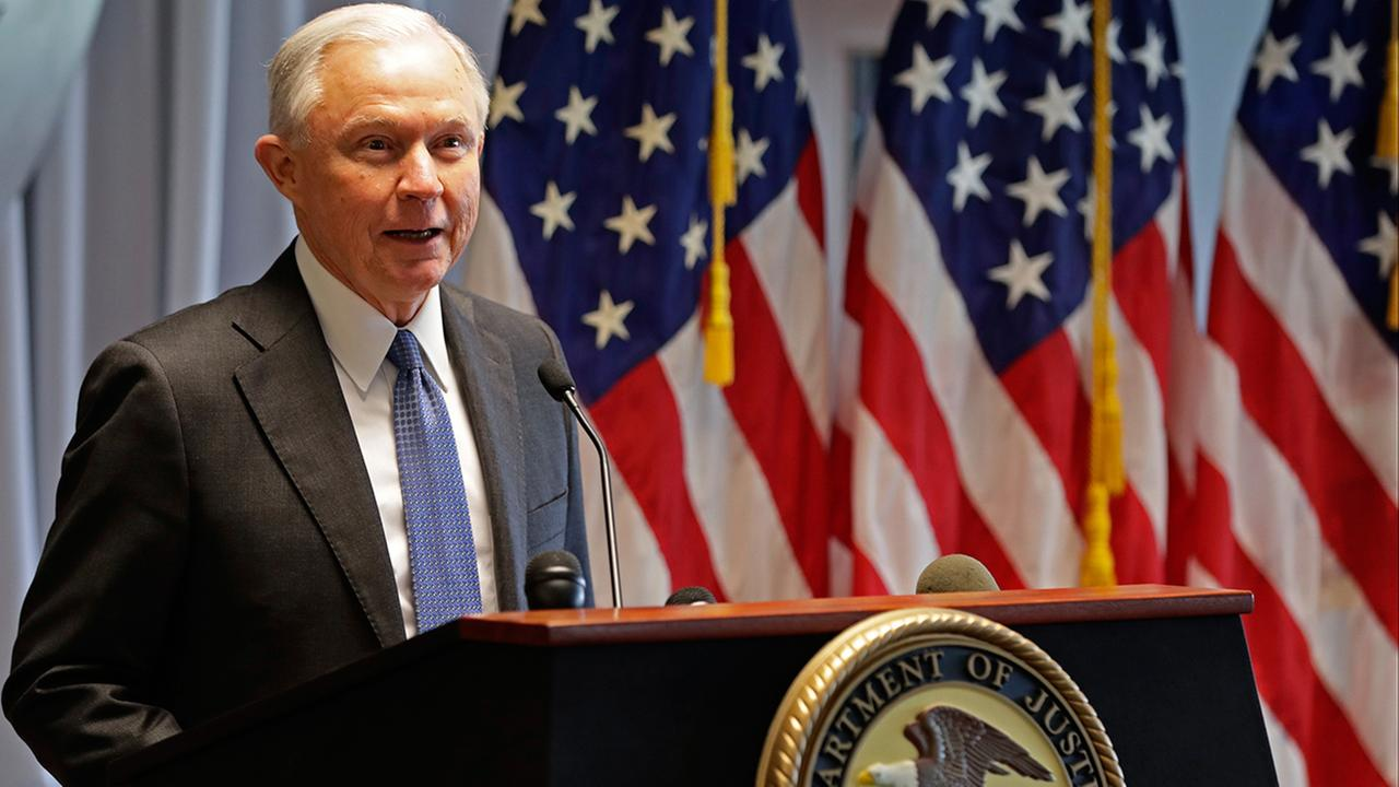 Attorney General Jeff Sessions speaks to members of law enforcement Friday, April 28, 2017, in Central Islip, N.Y.